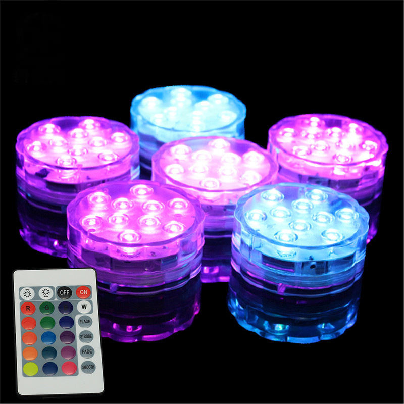 10 Pcs RGB 5050Smd LED Remote Control Tahan Air Submersible Lampu LED Dasar Di Bawah Vas Lampu