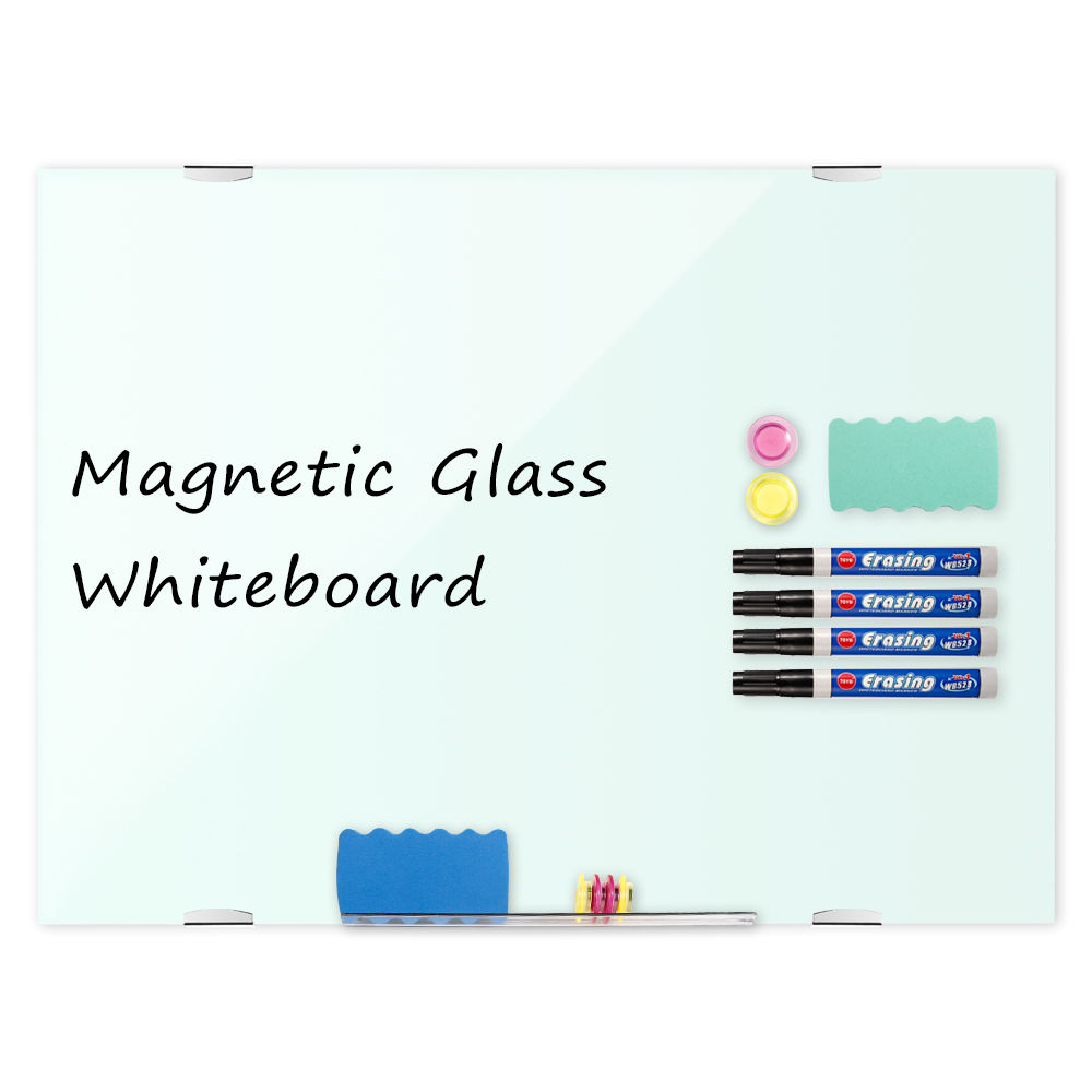 Wall-mounted strong magnetic tempered glass whiteboard for office