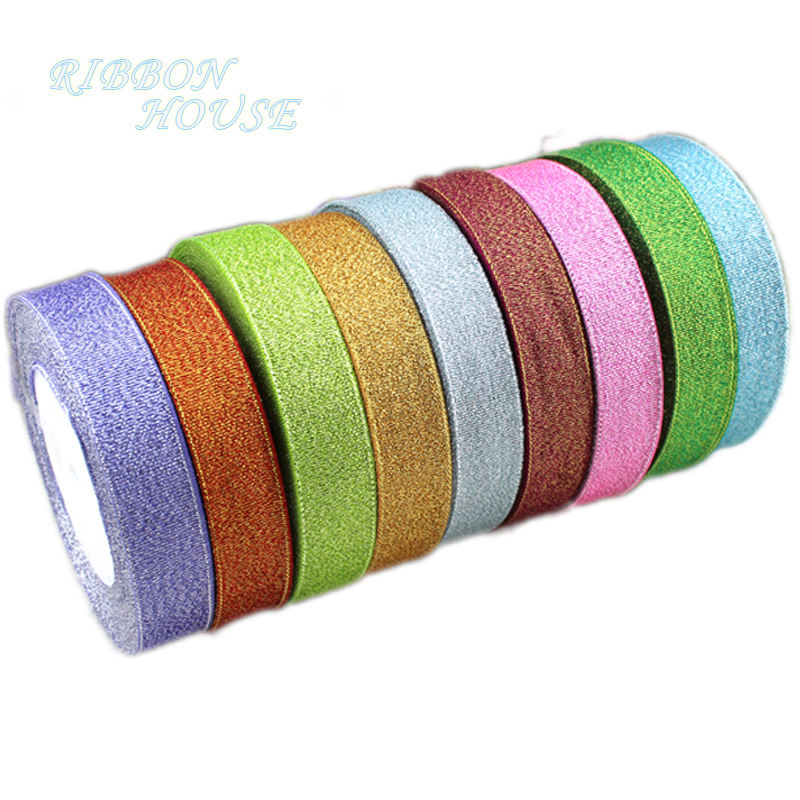 (25yards/roll) 1 ''(25mm) Metallic Glitter <span class=keywords><strong>Nastro</strong></span> Colorato commercio all'ingrosso pacchetto regalo nastri