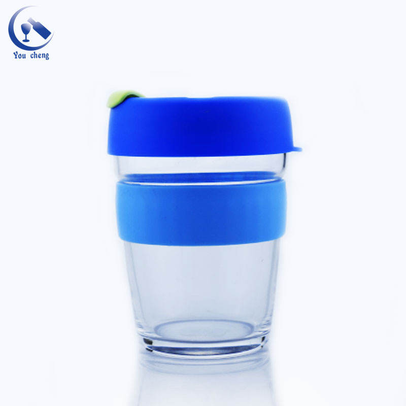 YOUCHENG high quality 300ml sport coffee glass cup with double cap and silicon rubber sleeve