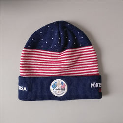 jacquard knitted hat embroidery logo football team cap