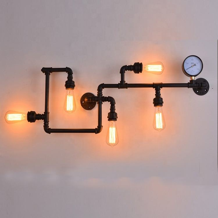 Vintage industrial wall light industrial water pipe lighting industrial loft iron pipe chandelier
