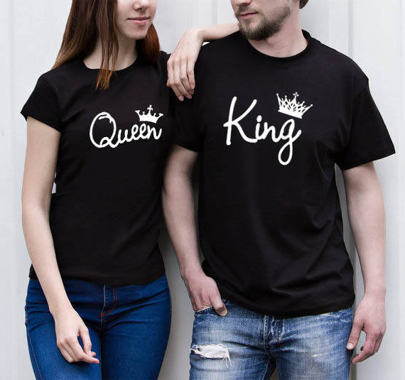 High Quality Wholesale Clothing King and Queen Hand Write T-Shirts Couple Matching Short Sleeve Crew T Shirts