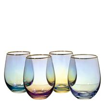 Amazon hot sale Stemless Wine Glasses Inclined colored electric-painting Crystal Wine Glass