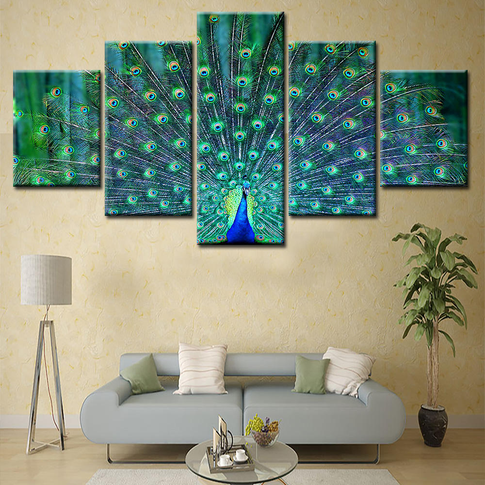 Painting Oil Picture Canvas Print Animal Decoration 5 Panel 3 D Printer Living Room Home Good European Decor Wall Art