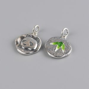 Wholesale S925 Sterling silver small fashion Cloisonne bamboo leaves panda girl jewelry pendant