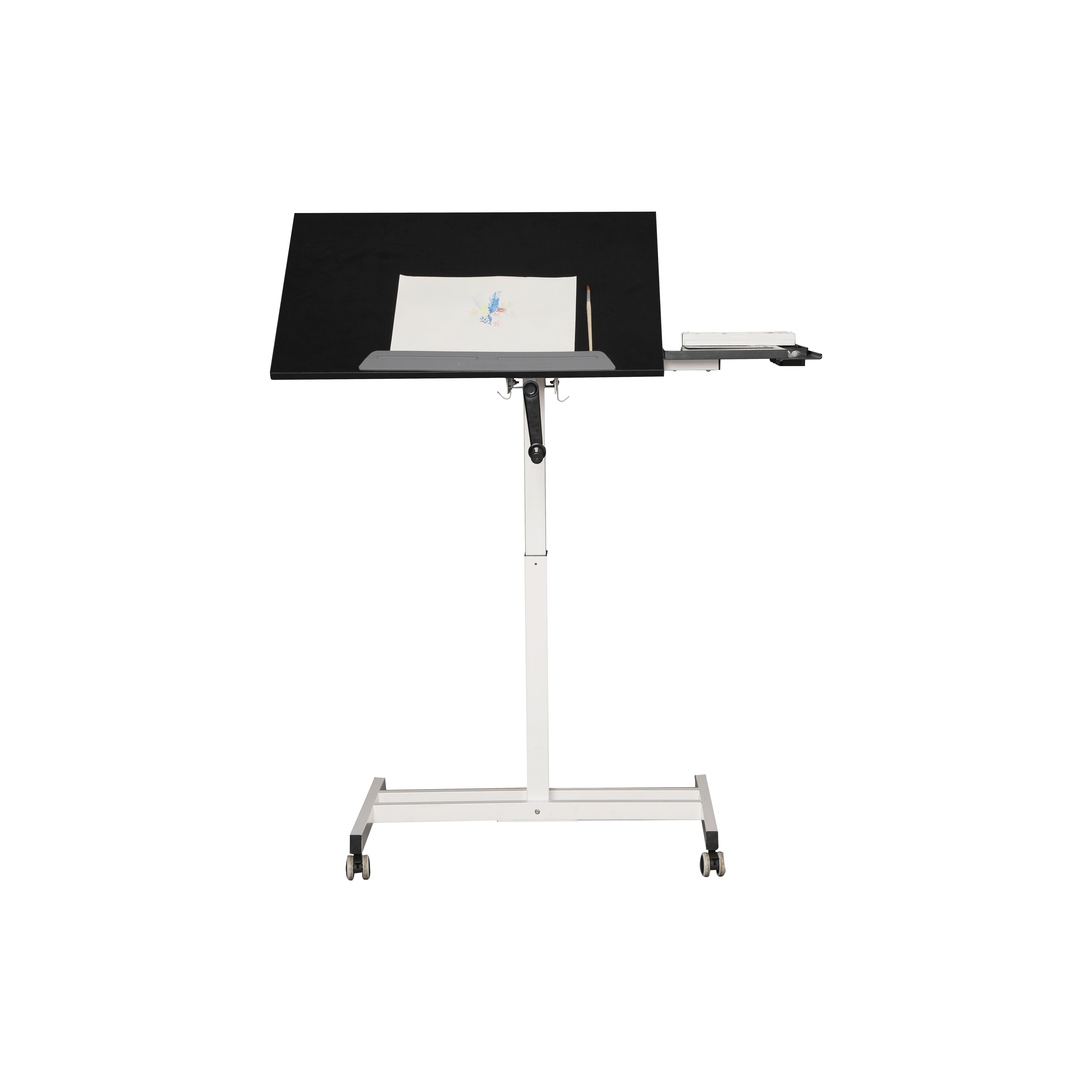 height adjustable sit-stand drafting drawing table desk carbon frame workstation manual crank