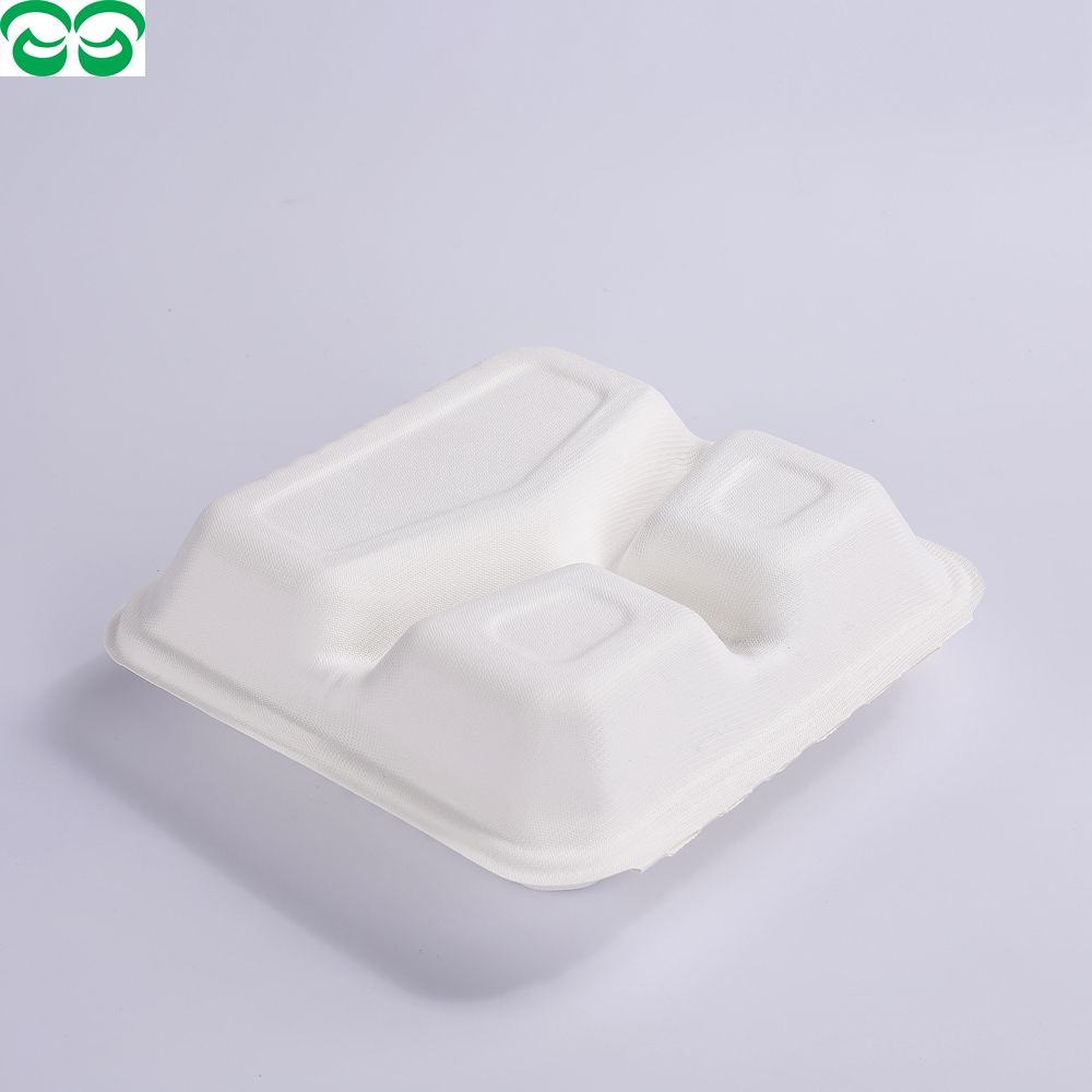 "Biodegradable And Compostable Sugarcane Pulp 8"" 3-Com Shallow Clamshell"