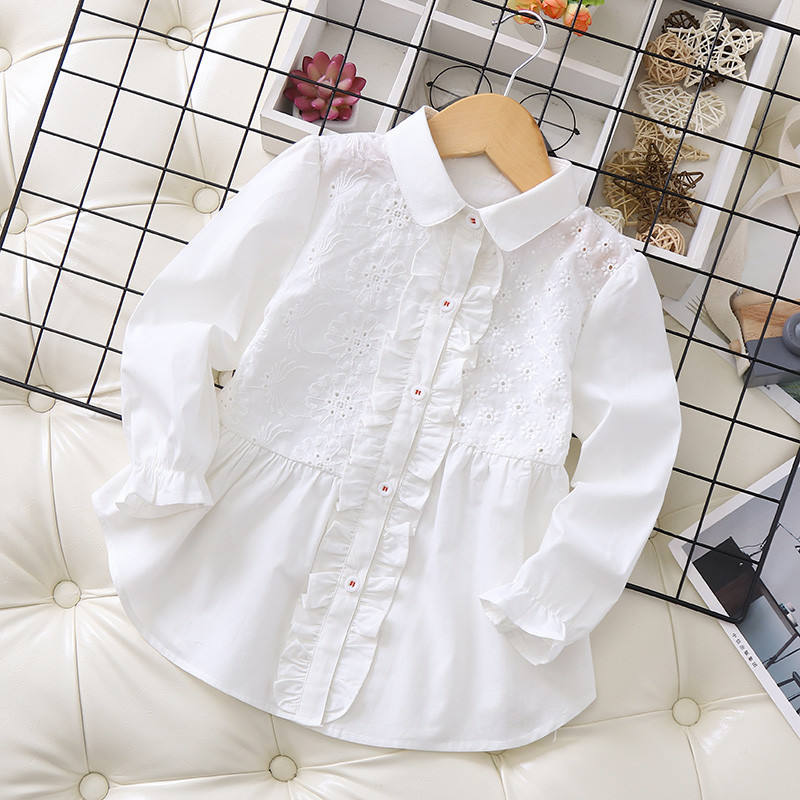 kids white blouse for girls shirt ruffles school ruched casual baby tops children clothes boutiques ready made