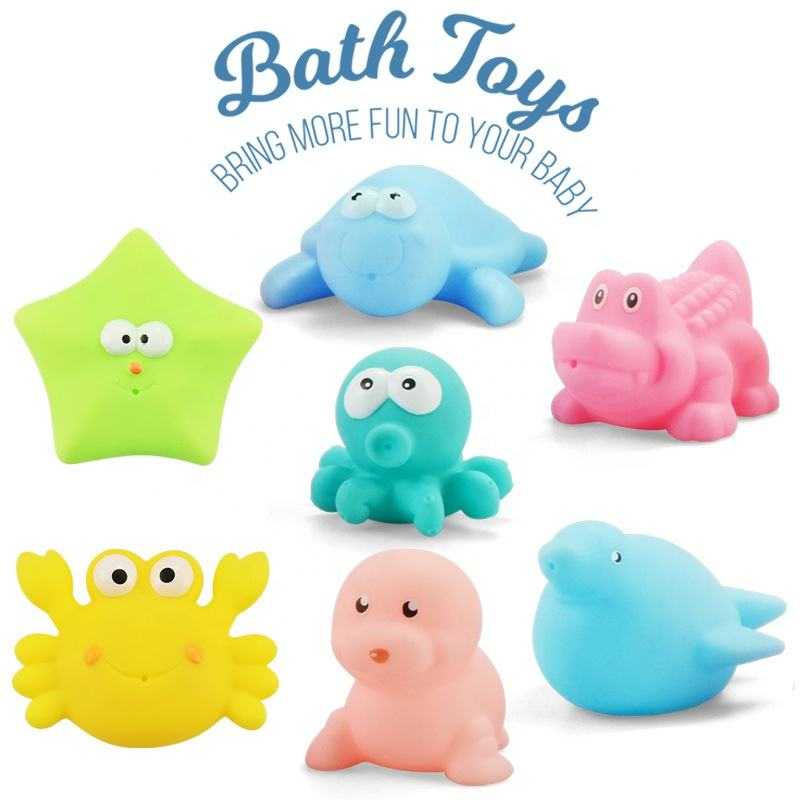 2019 Food Grade Vinyl Soft Rubber Kids Water Squeeze Toy Cute Floating Cartoon Animal Squishy Toys Baby Bath Toy With Sounds