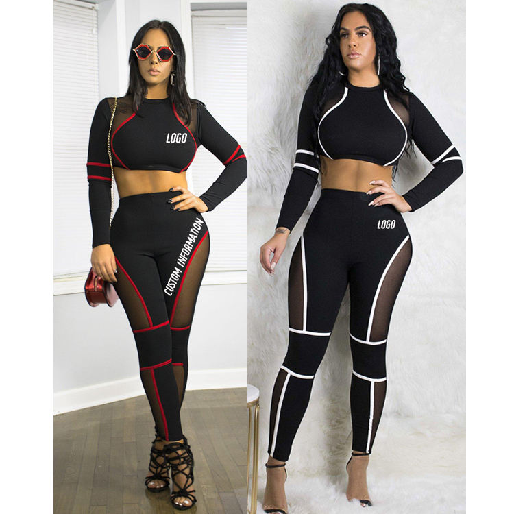 Free Shipping Women Gym Suit Sport Bra Tops Yoga Leggings Set Two Pieces Ladies Workout Fitness Wear