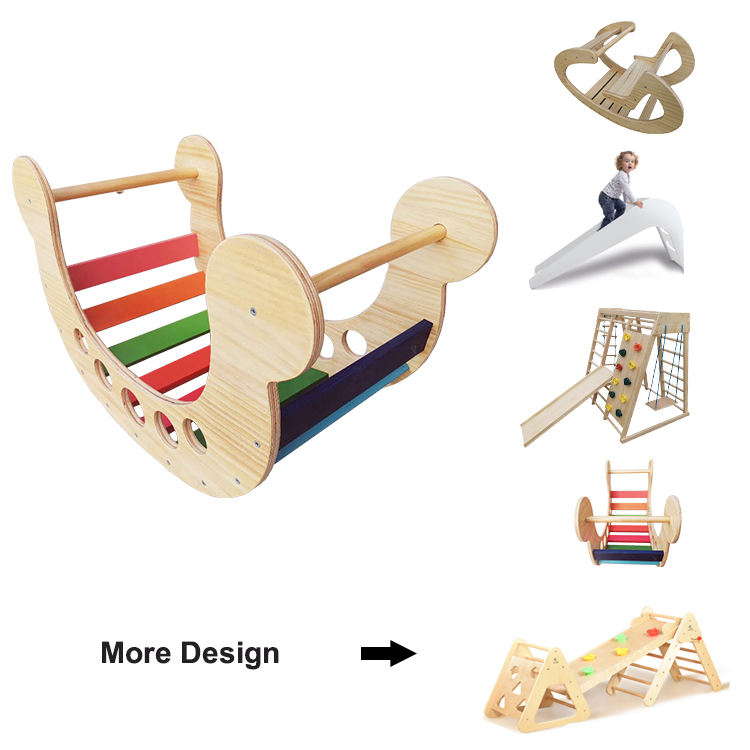 Natural Color Wooden Ride on Rocking Play Pikler Arch Rainbow Rocker Child Rocking Bed Wood Rocker Kid Toy