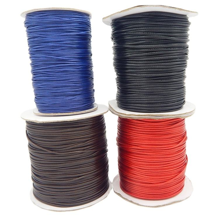 wholesale 1mm to 5mm cotton/Polyester glossy multicolor Coated Finish Braided Korea waxed cord for tags