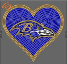 custom  Ravens  Rhinestone heat transfers for t shirt