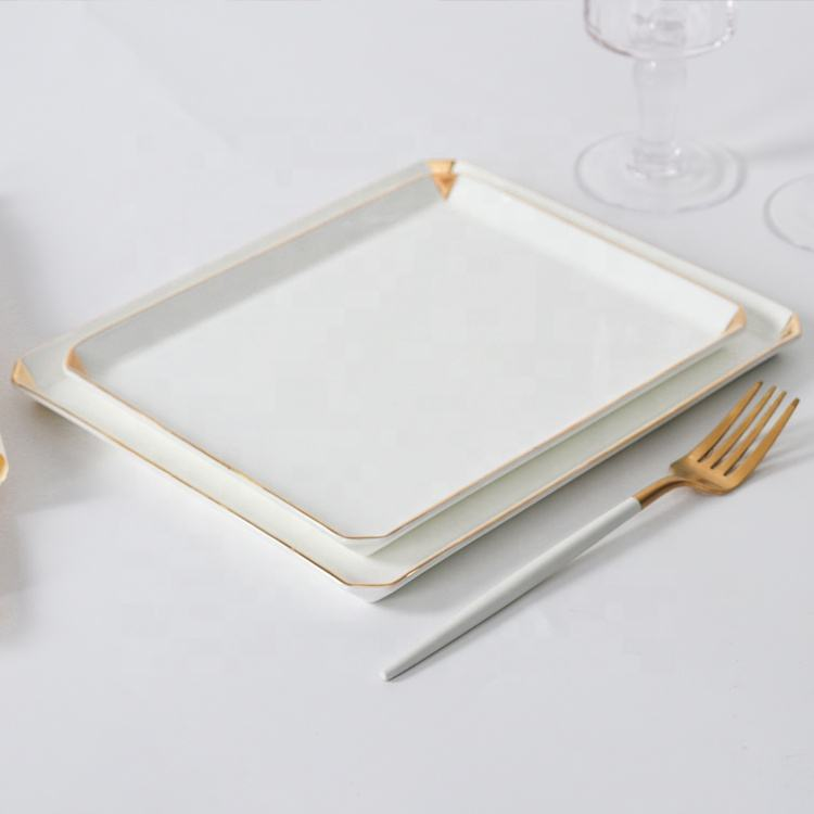 wholesale dinnerware hotel restaurant plates banquet plates gold trim bone china tableware porcelain dinner