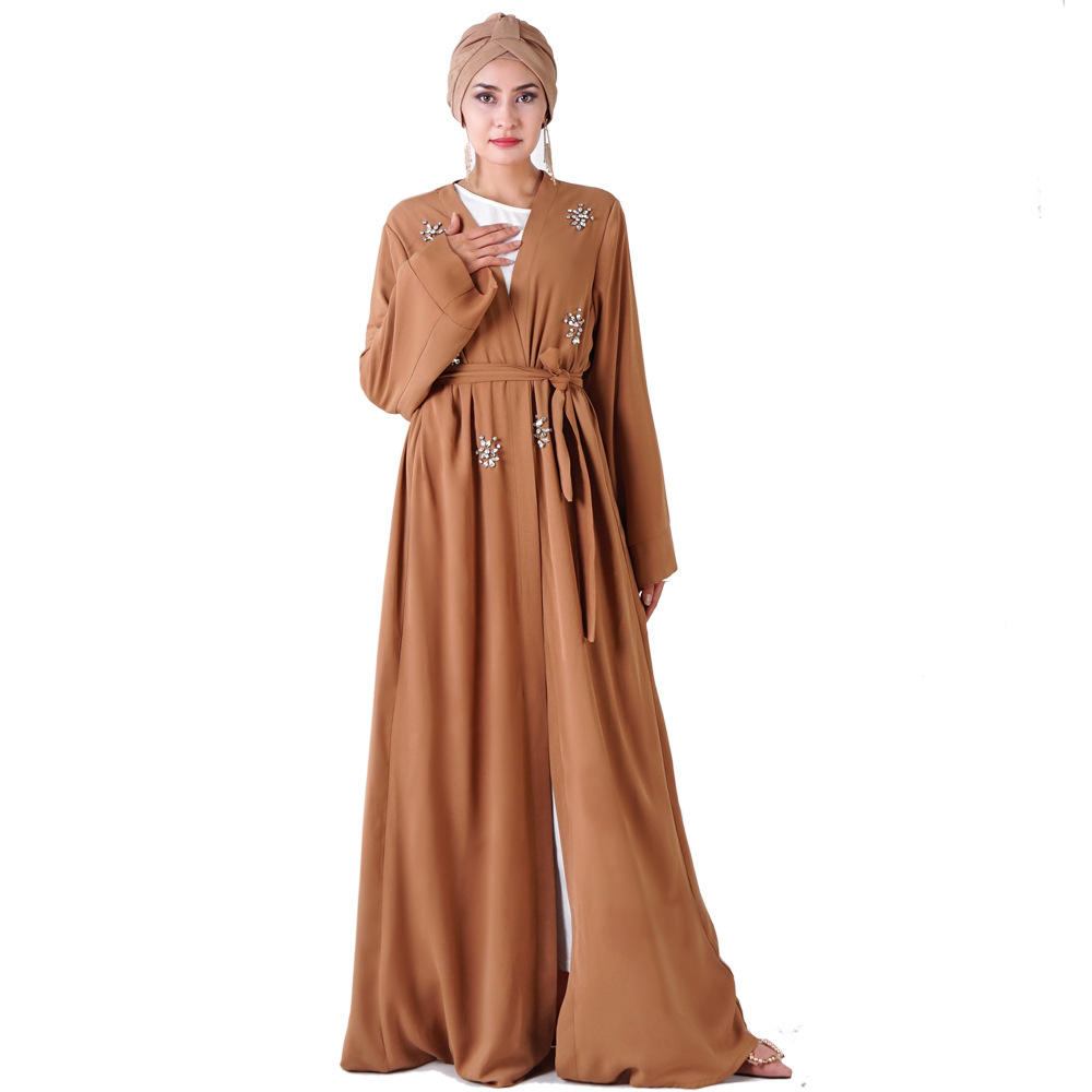 abaya 128 hand-stitched rhinestones 6 hot colors Turkish kimono largo Dress Muslim women's clothing