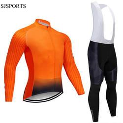 Men's Cycling Jersey Long sleeve set MTB Bike Clothing Gel GEL bib pants Bicycle Wear