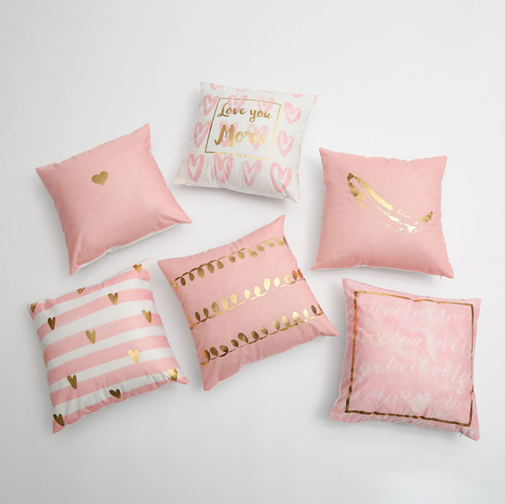 Pink Hot Stamping Gold Foil Print Throw Pillow Covers Soft Velvet Square Cushion Covers