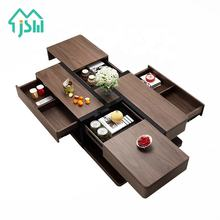 Jasiway Design Living Room Furniture Storage Wooden Modern Coffee Table With Drawers