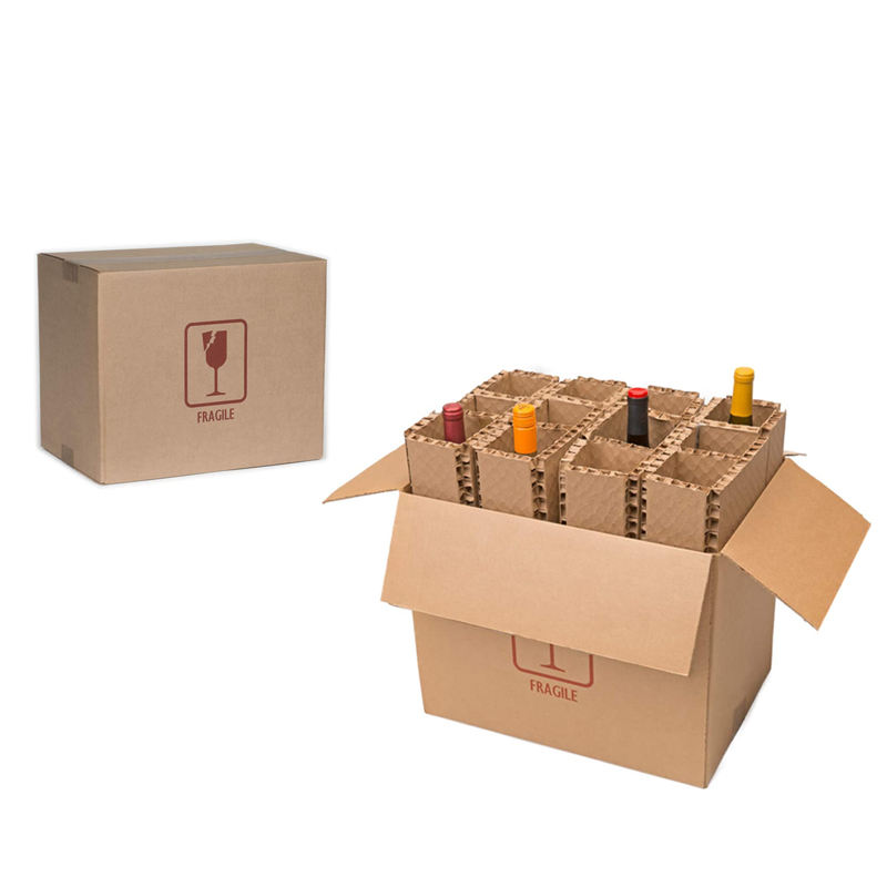 Factory Custom Recyclable Corrugated 12 Bottle Cardboard With Dividers wine paper boxes