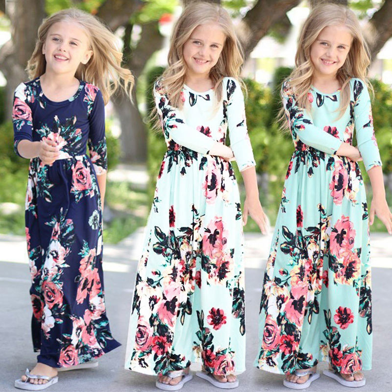 Fashion Design Soft Girls Floral Print Maxi Dress Kids Long Stylish Cotton Dresses