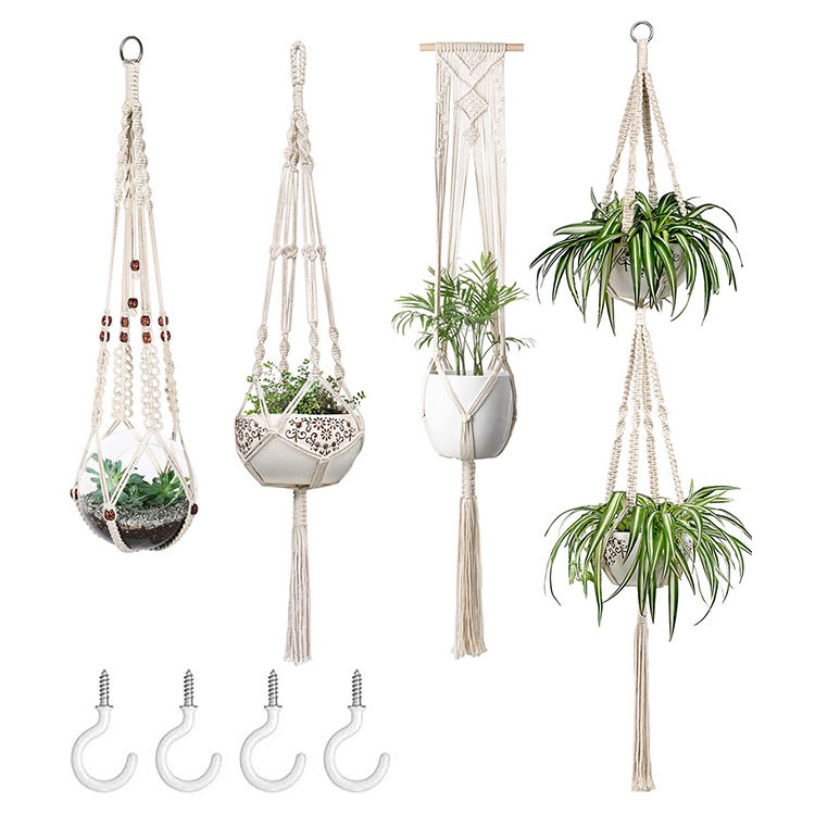 4 Set Air Handmade Cotton Macrame Decor Wall Hanging Home Decoration Accessories Indoor Macrame Plant Hanger