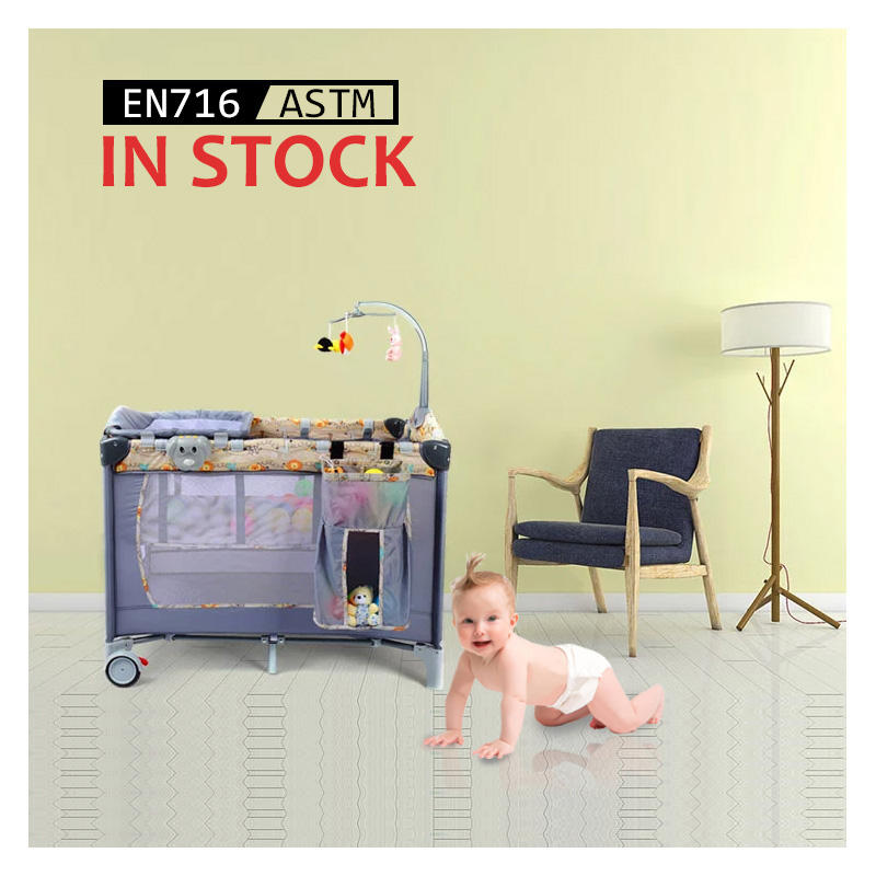 Free Design New Product 2021 Portable Baby Playpen Bed, Custom Baby Furniture Foldable Baby Crib Set/