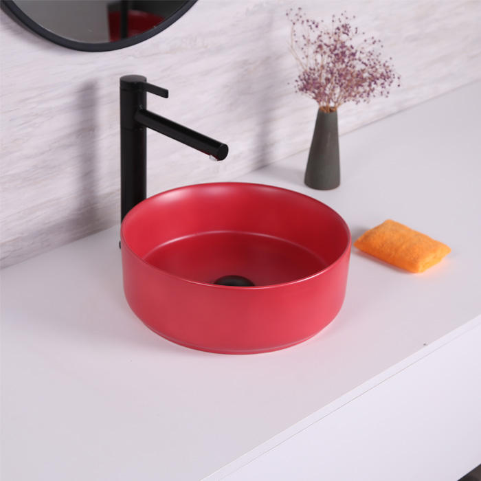 Square countertop sink matte custom army red color design ceramic thin hand wash art basin