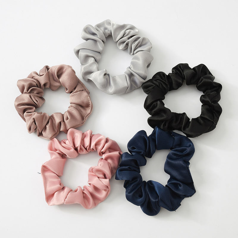 Wholesale Promotion Gift Women Fashion Elastic Rubber Bands Ponytail Holders Accessory Silk Satin Scrunchies Hair Tie