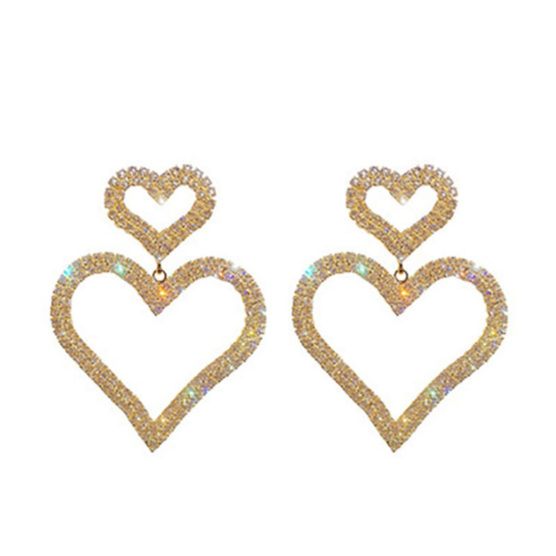 Fashion Statement Rhinestone Drop Earrings 925 Silver Needle Double Heart Crystal Hoop Earrings