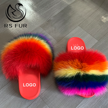 Wholesale fashion custom color fluffy fur slides lady real fur slippers flip flop for women
