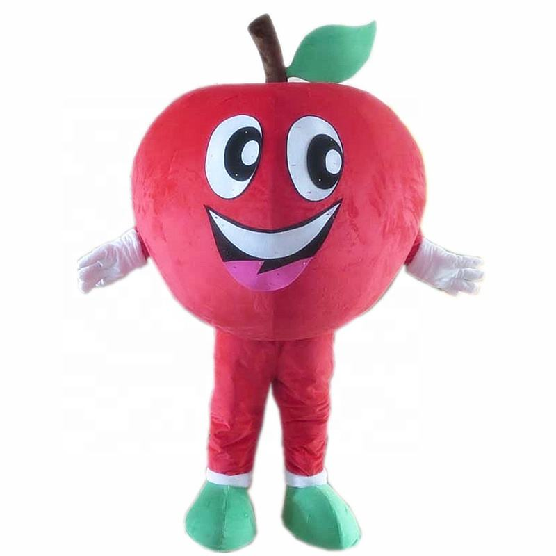 Happy funny giant fruit red apply mascot costume party life size soft plush red apple mascot costume