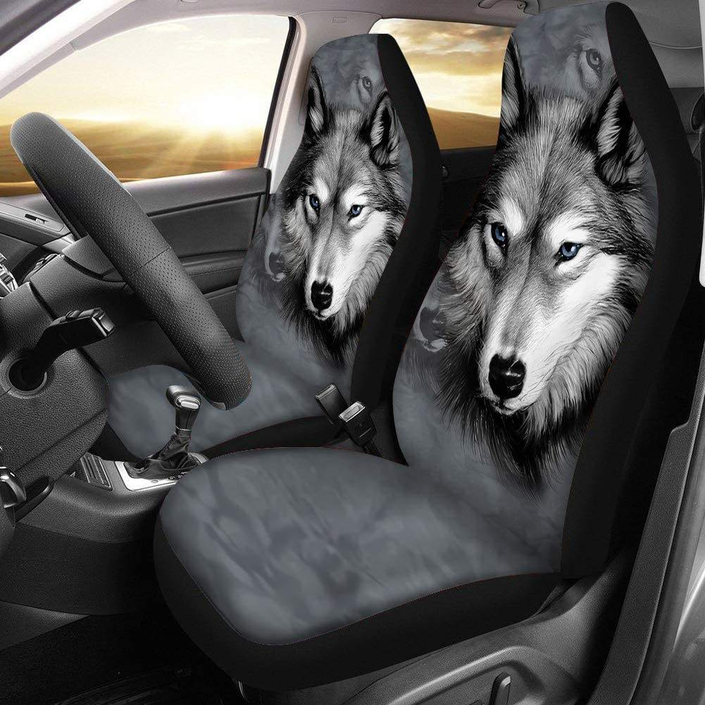 Set of 2 Auto Accessories Protectors Car Decor Universal Fit for Car Custom Wolf Grey Print Car Seat Covers