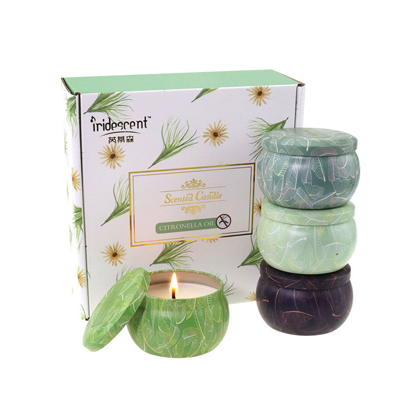 Wholesale Stock Gift Set Outdoor Camp Home Bug Mosquito repellent Use Citronella Scented Soy Wax Candle Tin Jar