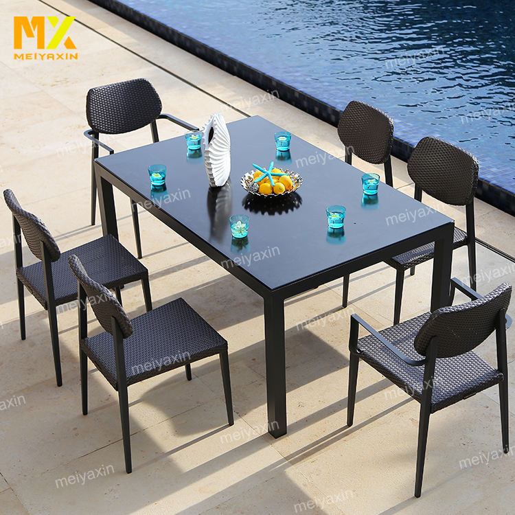 2020 wicker garden 6 chair dining aluminum patio dining outdoor dining table set