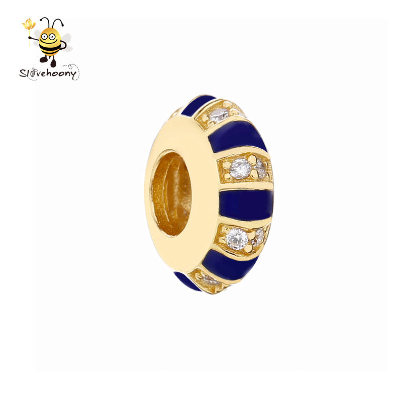 2019 Latest Design 18k Gold plated Jewelry cz Stone Blue Vintage Charm For Fashion Women Love Gift