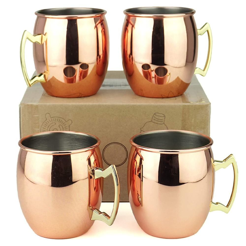 KLP RTS amazon Mirror Polished Cups Stainless Steel Copper Mule Mugs Moscow Mule Mugs Set von 4