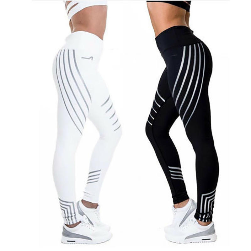 In-Stock Items [ Yoga Pants ] Pants New Women Black/White Stretch Yoga Pants Striped Fitness Leggings Slim Running Sport Pants Leggings
