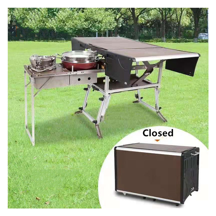 Self-driving tour use outdoor portable field camp BBQ grill equipment mobile kitchen camping folding table for dining