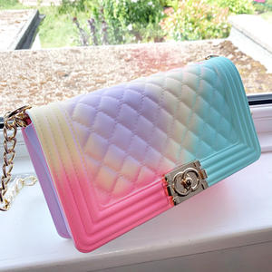 GW Hot colorful ladies pvc jelly beach shoulder hand bags silicone candy color handbags for women