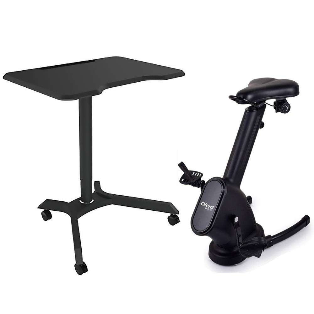 OLERD Home Silent Indoor Cardio Exercise Bike with Magnetic Petal Fitness Chair and Gas Lift Movable Desk