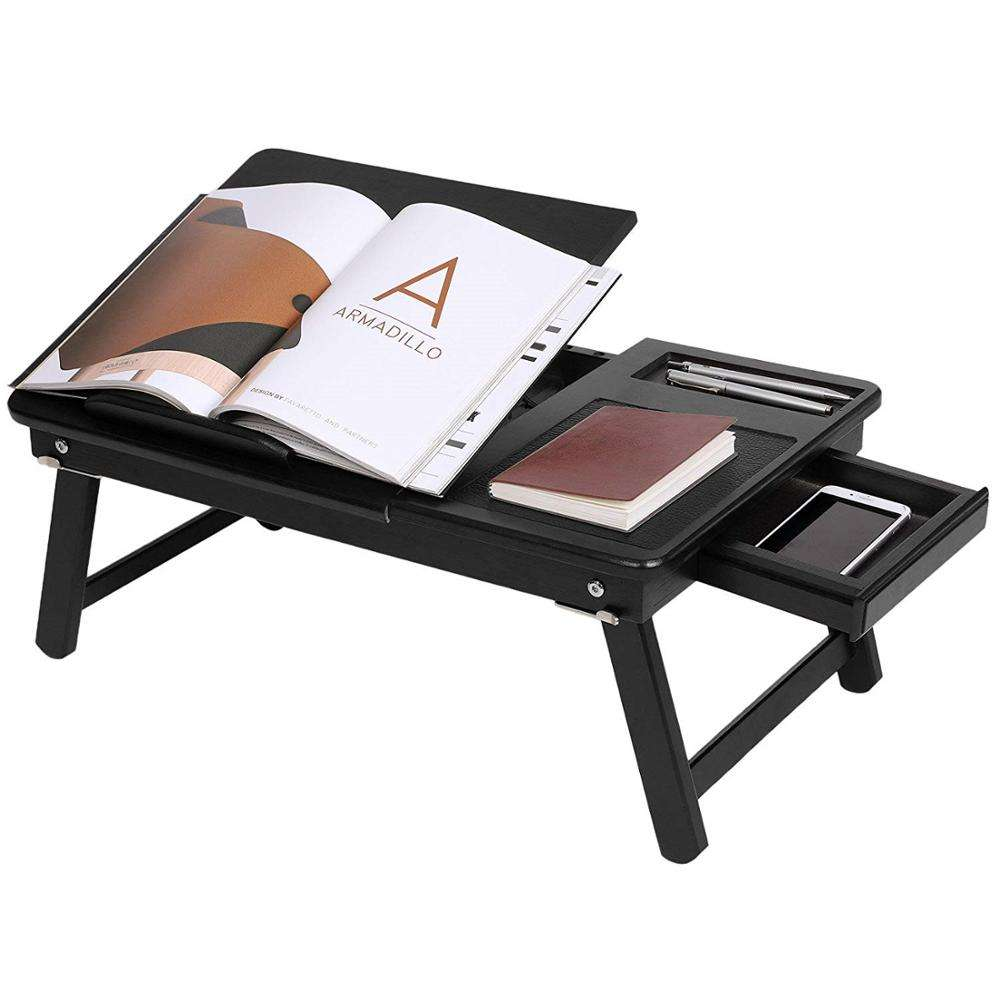 Bamboo Folding Laptop Desk Adjustable Portable Breakfast Serving Bed Tray Multifunctional Table with Tilting Top Storage Drawer