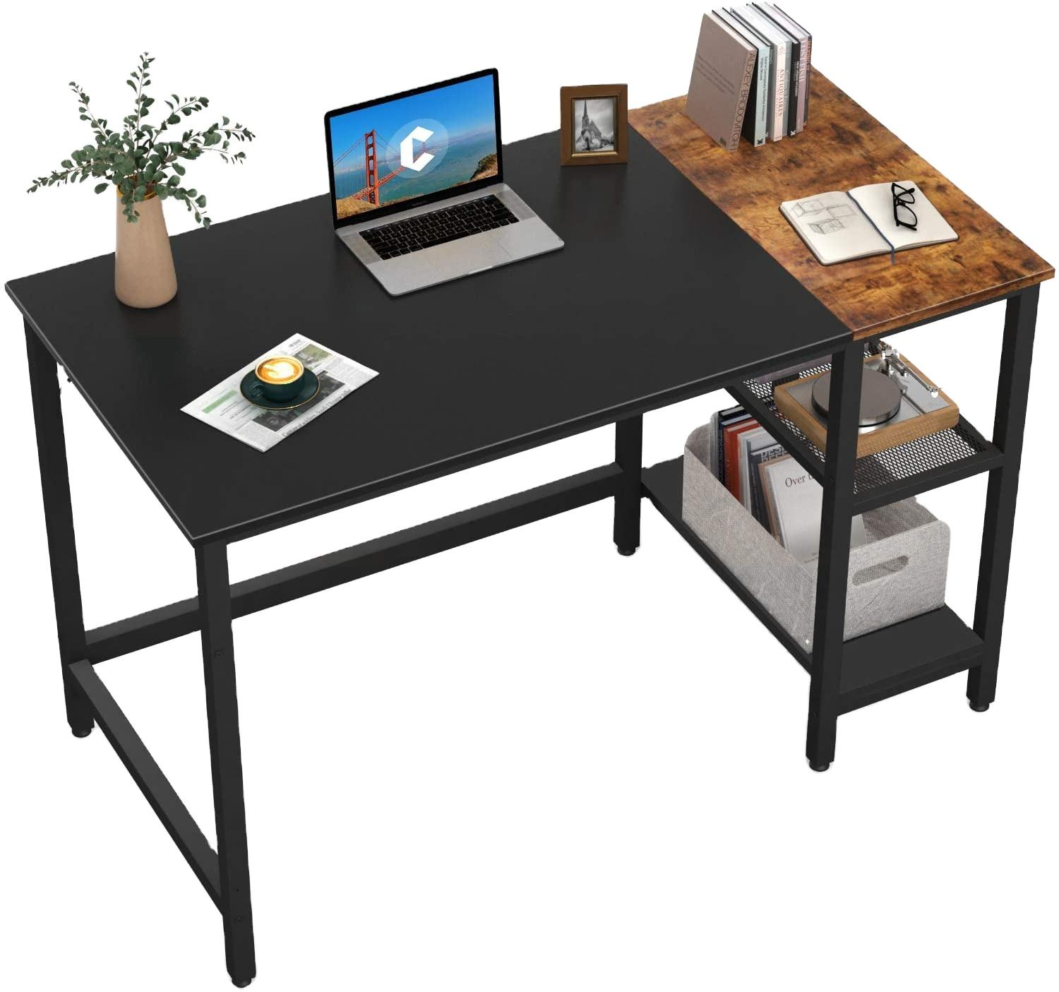 Black and Espresso Modern Simple PC Desk Study Writing Table with Storage Shelves Home Office Computer Desk
