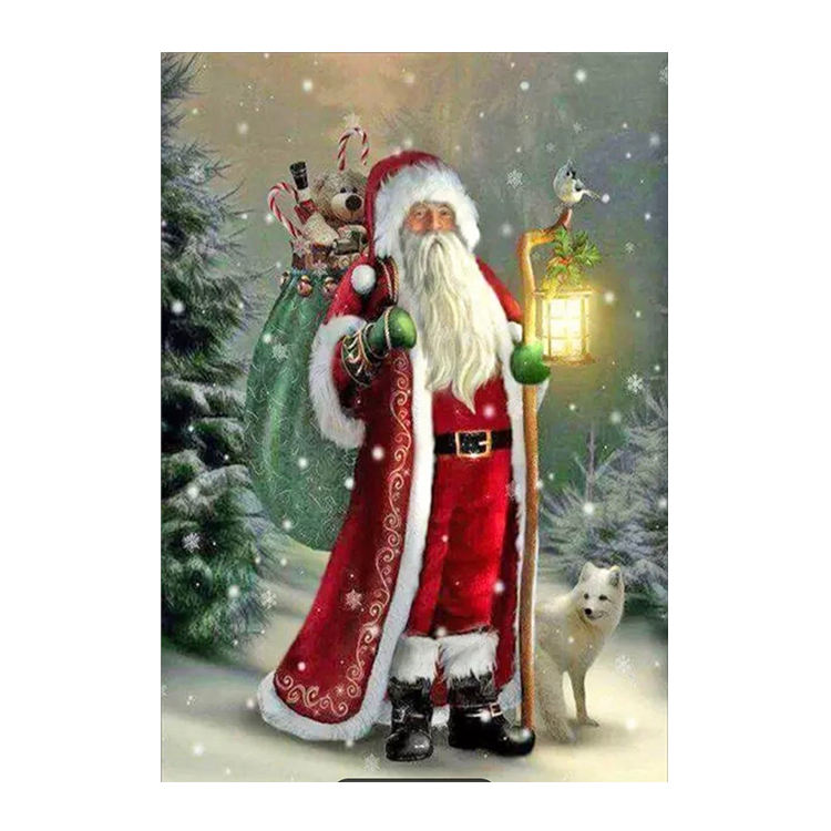 Full Round Drill Mosaic Rhinestone Art Gift Wall Decor DIY 5D Diamond Painting Santa Claus Pictures