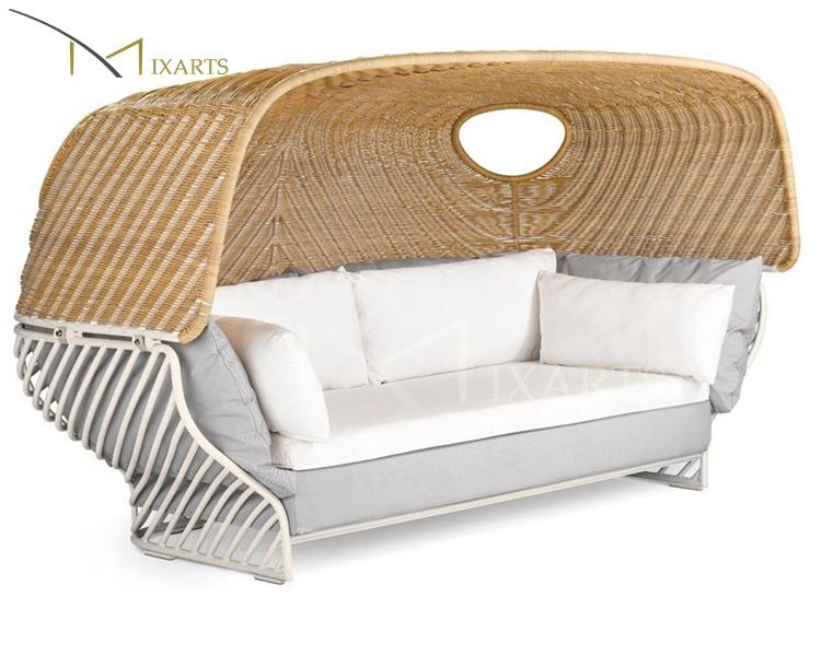 Exotic Style Techno Wicker Ratan Outdoor Lounge Sofa Chair With Canopy Summer Winds Patio Furniture