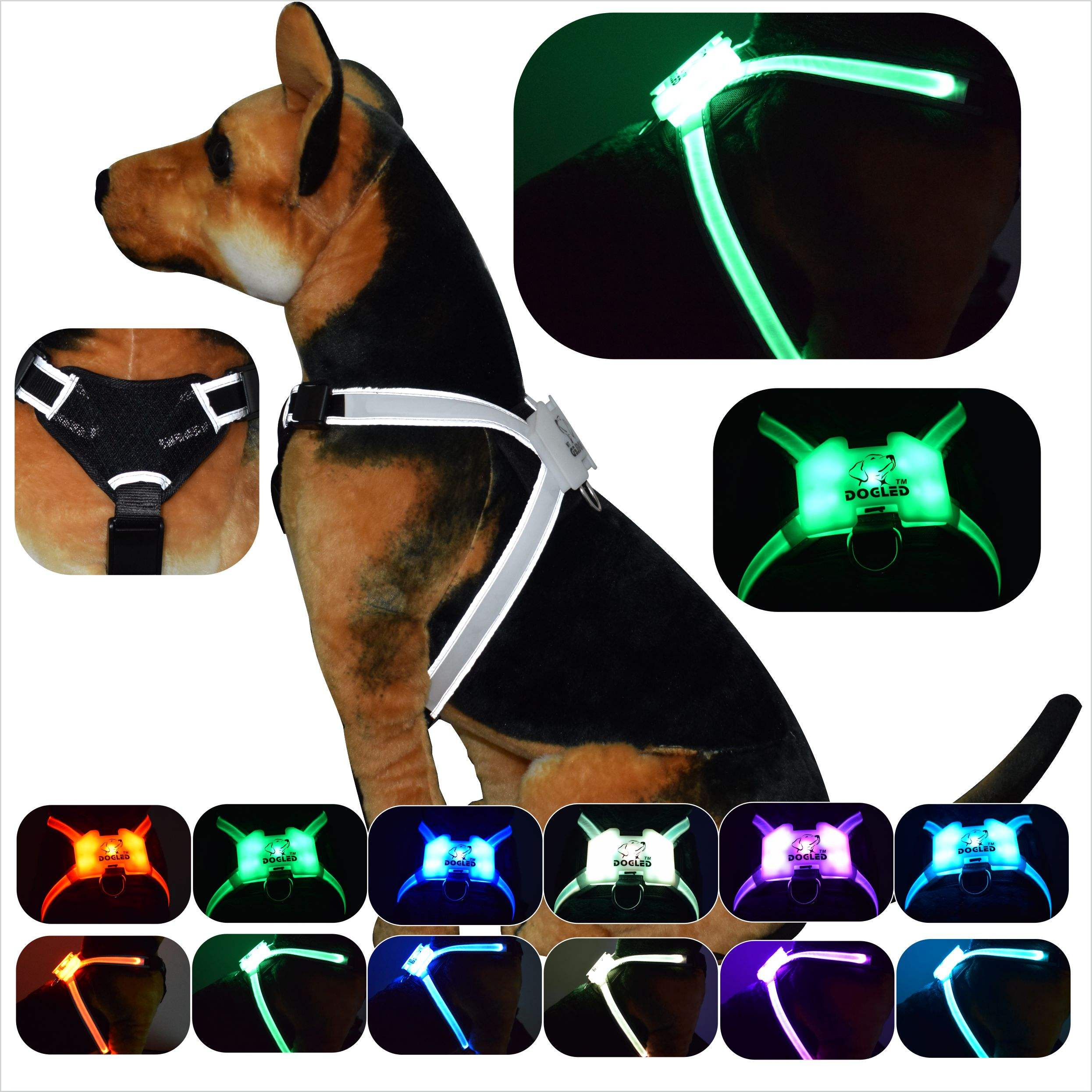 Manufatura profissional ajustável pet led harness dog New Favoritos LED Cat Dog Pet Harness e <span class=keywords><strong>Trela</strong></span> Leads Treinamento Seguro