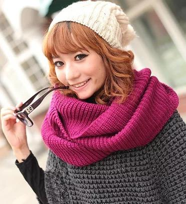 Wholesale knitted infinity scarf for women and men plain warm scarf