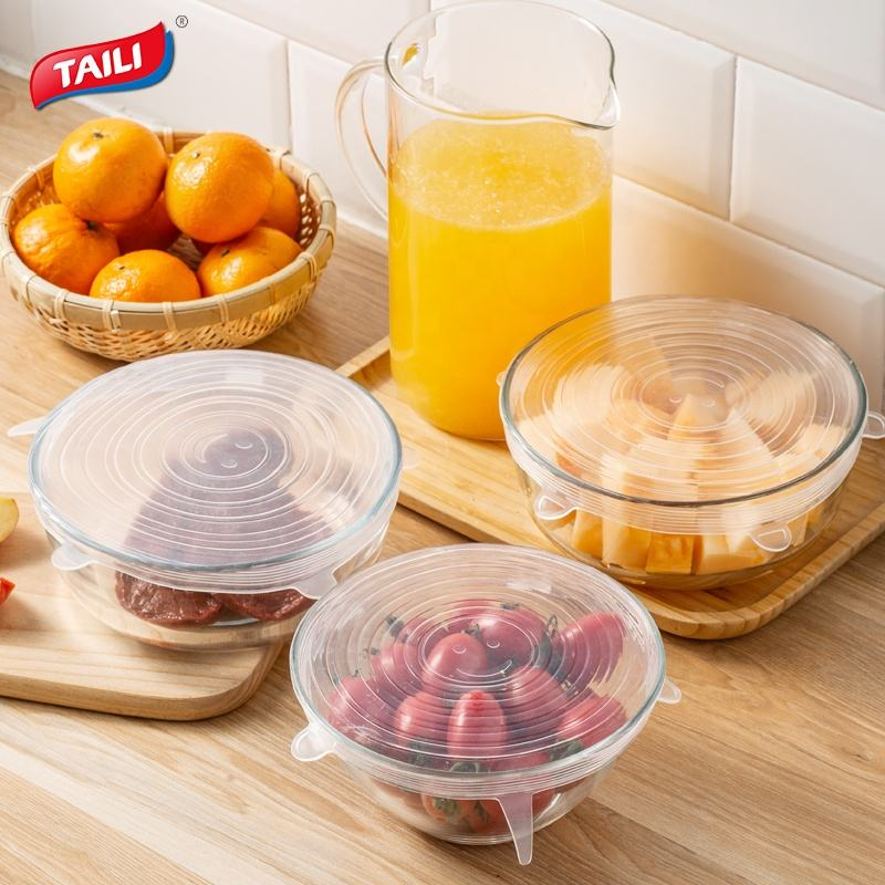 TAILI BPA Free Reusable Flexible Stretch Silicone Fresh-keep Lid For Fruits Meat and Vegetables Food Sealed Covers Lid