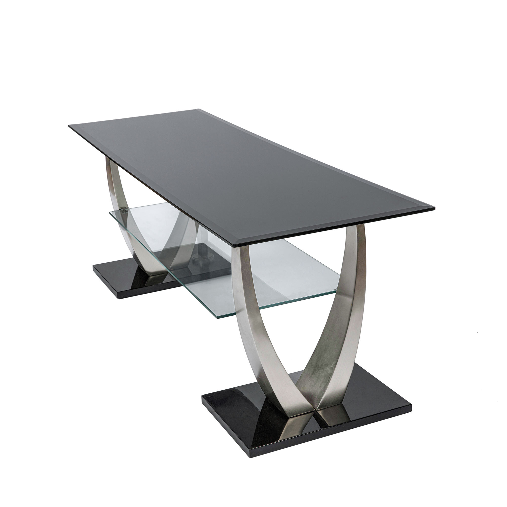 Modern Classic Simple Design Home Living Room Stylish Furniture Black Glass Top Steel Frame Tv Table Stands