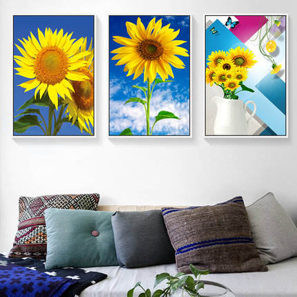Nordic Sun Flower Wall Decor Painting Modern Canvas Oil Painting For Living Room Home Hotel Art Painting